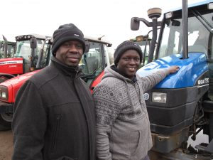 Gideon Okuongo and Barnabas Sawe with the tractor they hope to export to farmers in the Rift Valley, Kenya