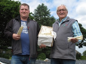 German asparagus farmers Michael Zapf with his father Gerhard Zapf