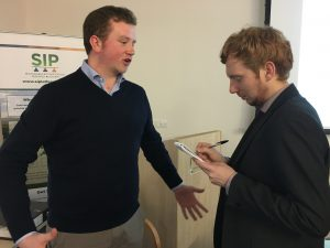 Alistair Wright welcomes journalist interest after his presentation at The Morley Agricultural Foundation AGM