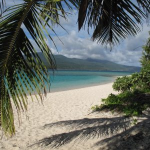 The deserted shore of Mystery Island waiting for the next cruise ship to call