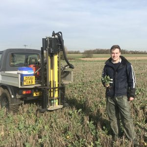 Participant David Clarke at his day job using our 0-90cm soil corer testing soil mineral nitrogen in an oil seed rape companion cropping trial.